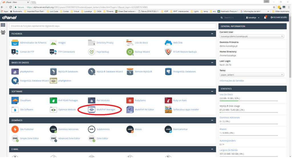 Actualize o seu PHP No Cpanel - Selefcionar php -MultiManager
