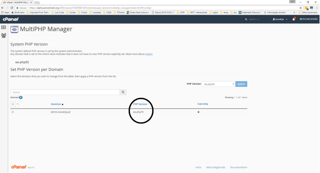 Seleccionar versão PHP - verificar a nova versão do PHP