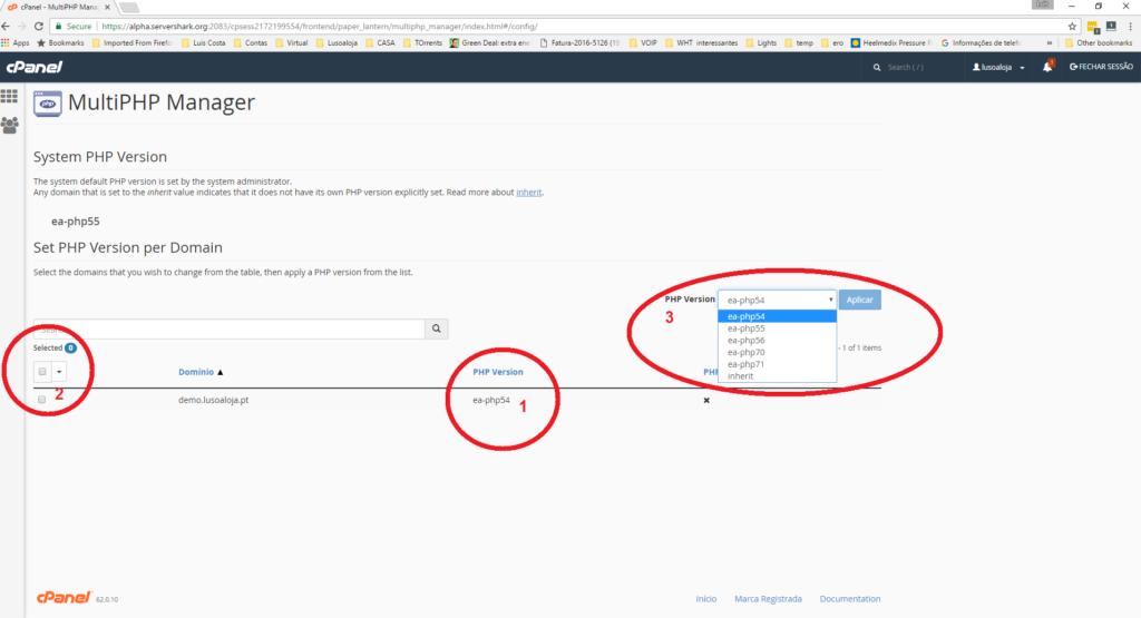 Actualize o seu PHP No Cpanel - Seleccionar versão PHP