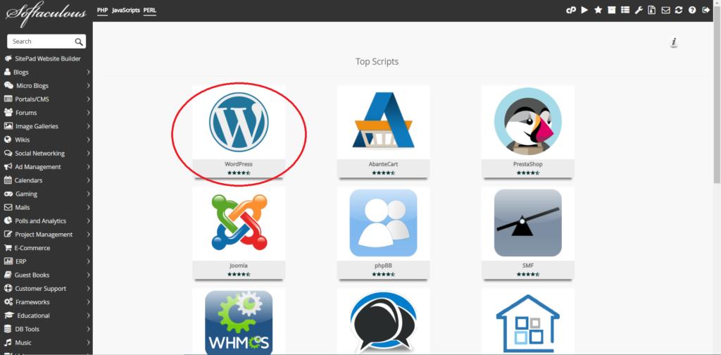 instalar o WordPress no Cpanel4
