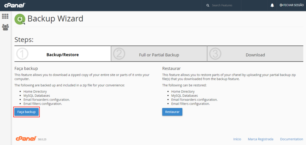 backup do website no Cpanel
