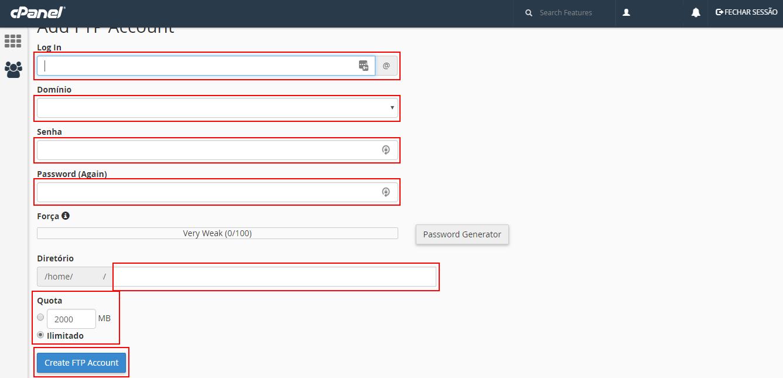 criar uma conta FTP no cpanel