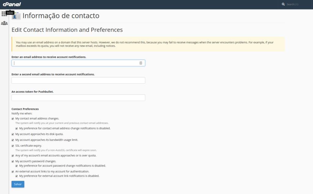 informação de contacto no Cpanel