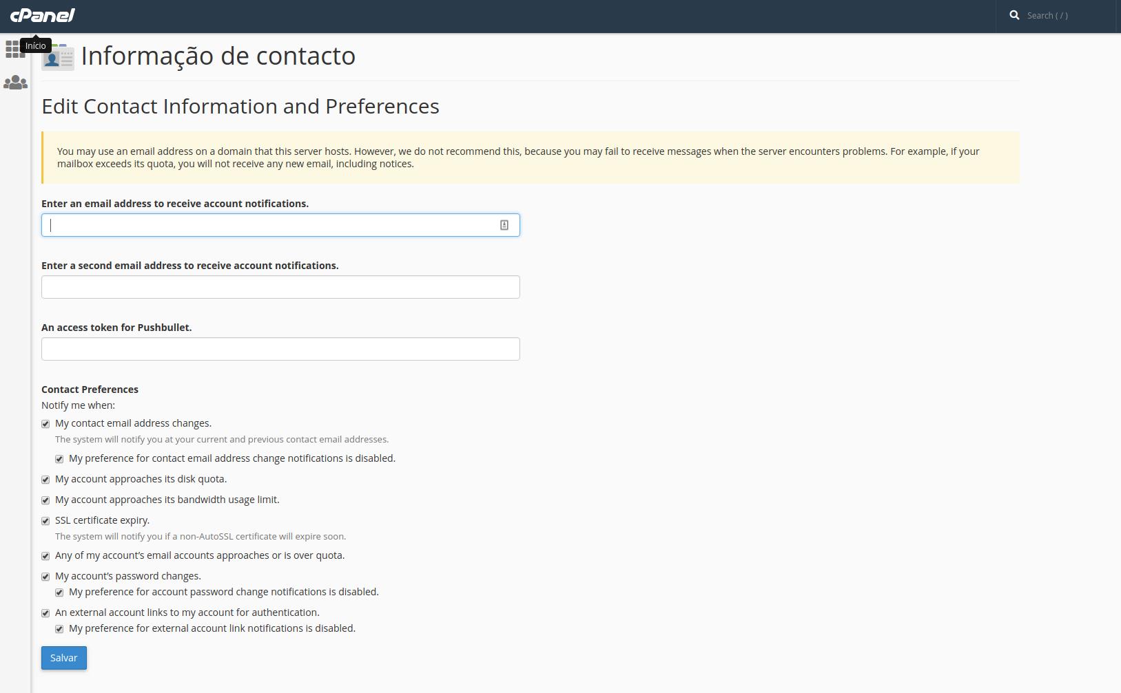 Como alterar informação de contacto no Cpanel? - LusoAloja