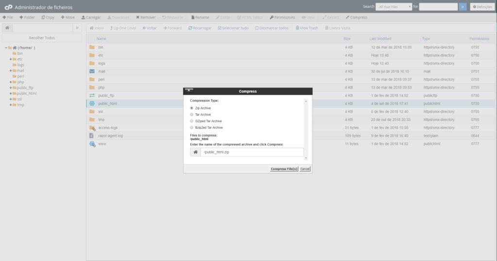 Atualização do PHP Compactar Ficheiros cPanel