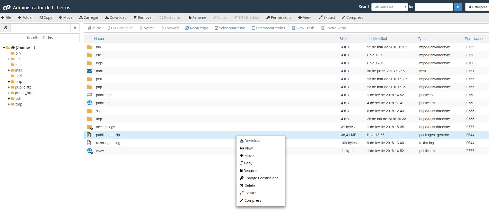 Atualização do PHP Download cPanel