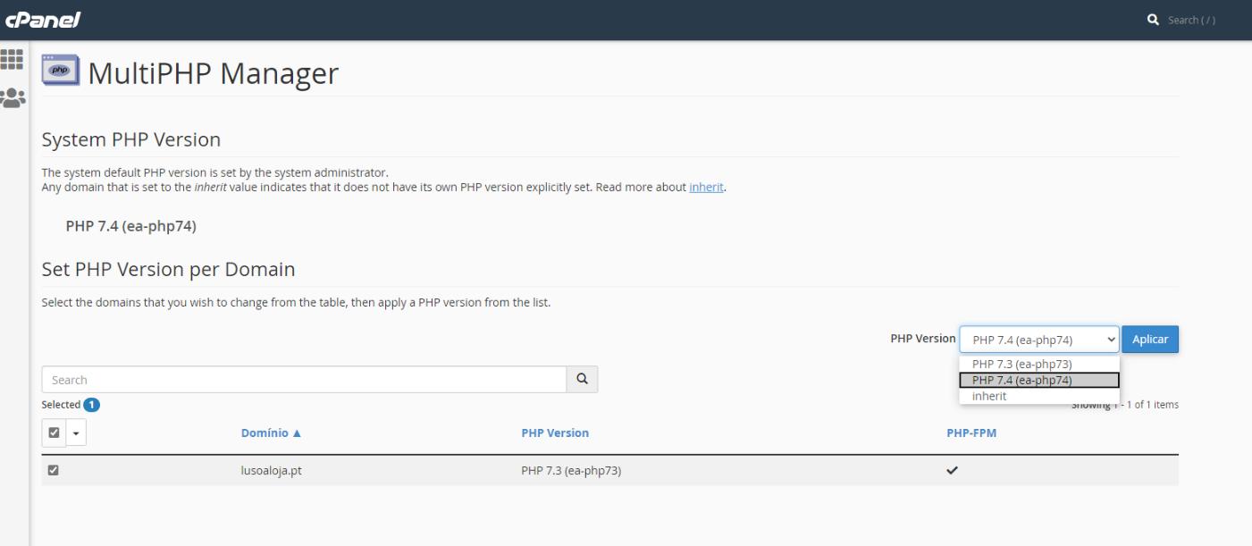 nova versão php 7.4