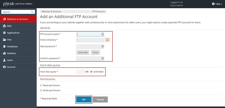 Conta FTP Plesk